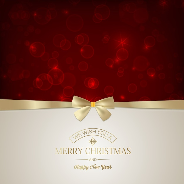 Merry christmas festive card with inscription and golden ribbon bow on red glowing stars Free Vector