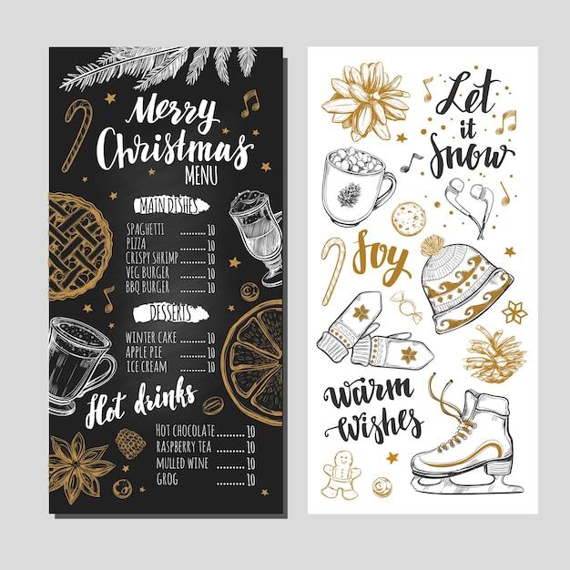 Merry christmas  festive winter menu on chalkboard. Premium Vector