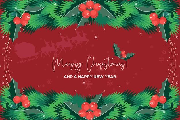 メリークリスマスフラット背景 Premiumベクター