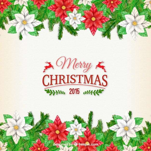 Merry christmas floral background vector free download