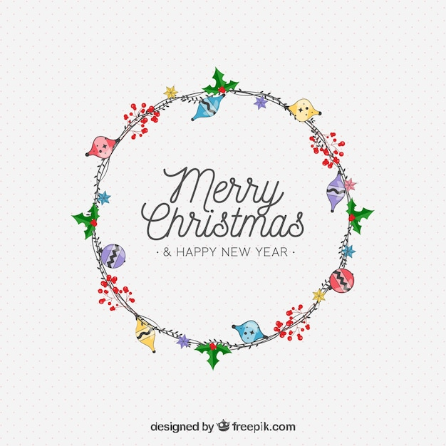 Merry christmas floral wreath background