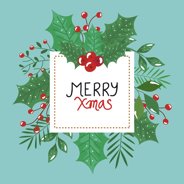 Merry christmas flyer with leafs decorative Free Vector