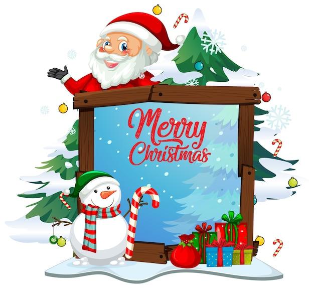 화이트 크리스마스 테마에 산타 클로스와 함께 메리 크리스마스 글꼴 무료 벡터