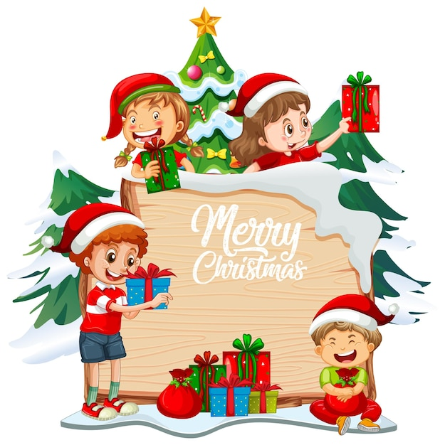 Merry christmas font on wooden board with children and christmas objects on white background Free Vector