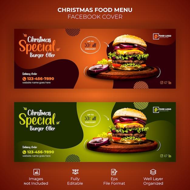 Merry christmas food menu facebook cover banner Premium Vector