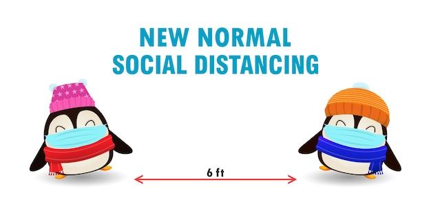 С рождеством христовым для новой концепции нормального образа жизни и социального дистанцирования, милый пингвин Premium векторы