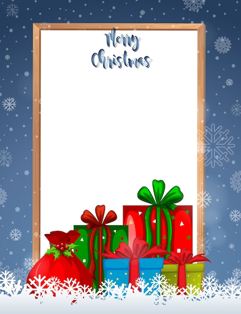 Merry christmas frame with presents and copyspace Free Vector