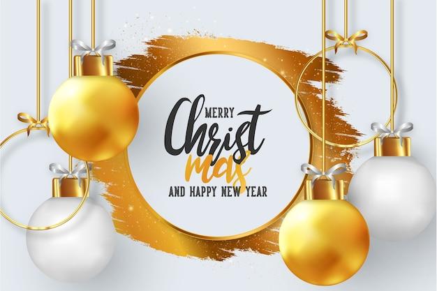 リアルなクリスマスボールとメリークリスマスフレーム 無料ベクター