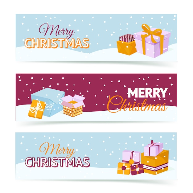 Merry christmas gift box banners Free Vector