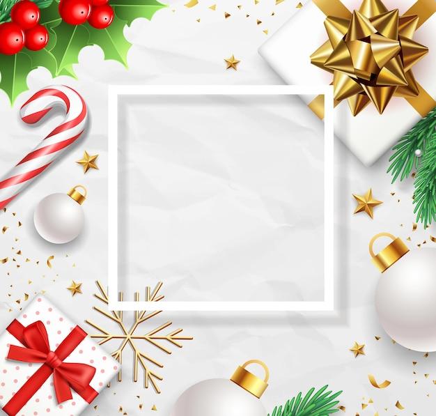 메리 크리스마스 선물 상자 골드 나비 리본, 소나무 잎, 사탕 지팡이, 홀리 프리미엄 벡터