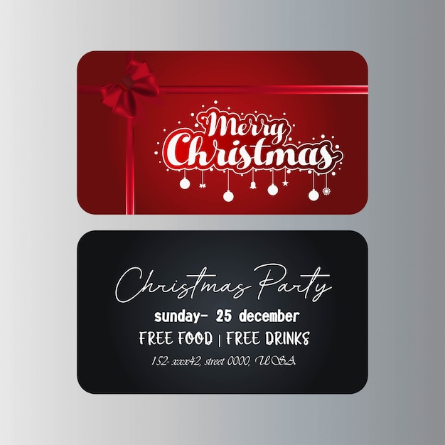 Merry Christmas Gift Card Template Premium Vector