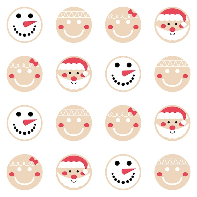 Merry christmas gingerbread pattern background set Premium Vector
