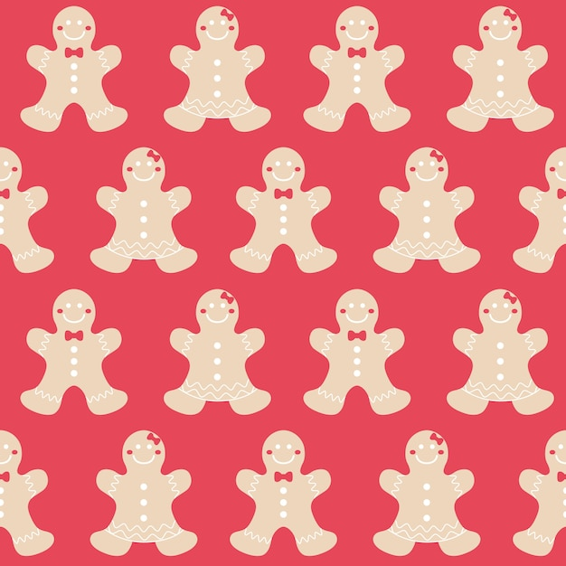 Merry christmas gingerbread seamless pattern background set Premium Vector