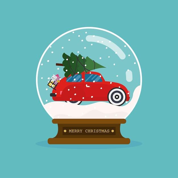 車とクリスマスツリーとメリークリスマスガラス玉。 Premiumベクター