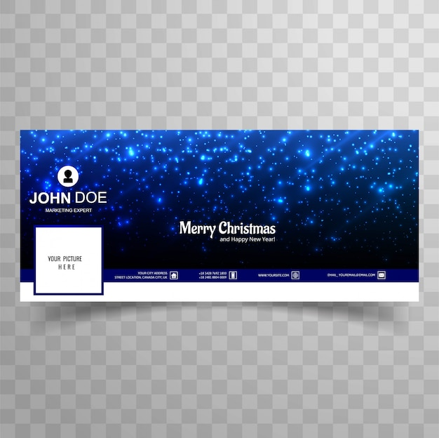 Merry christmas glitters shiny facebook banner template design Free Vector