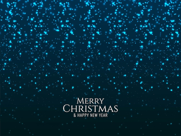 Merry christmas glowing blue glitters background Free Vector