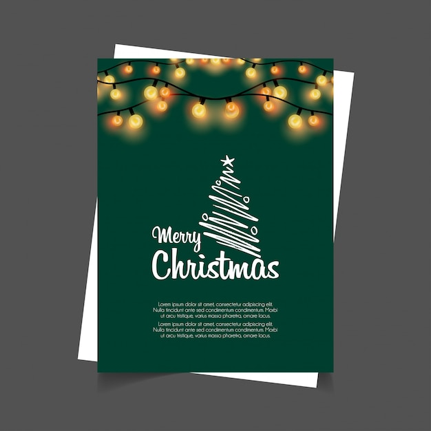 Merry christmas glowing lights green background Free Vector