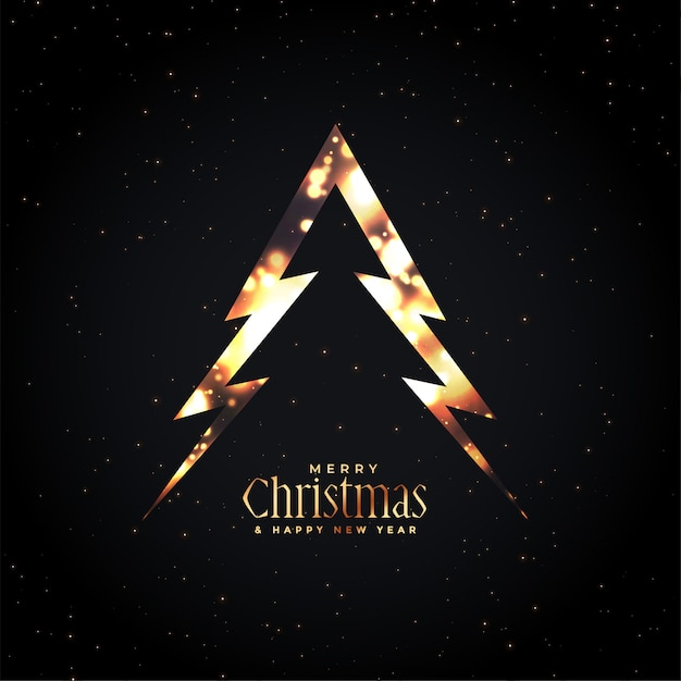 Merry christmas glowing tree dark Free Vector