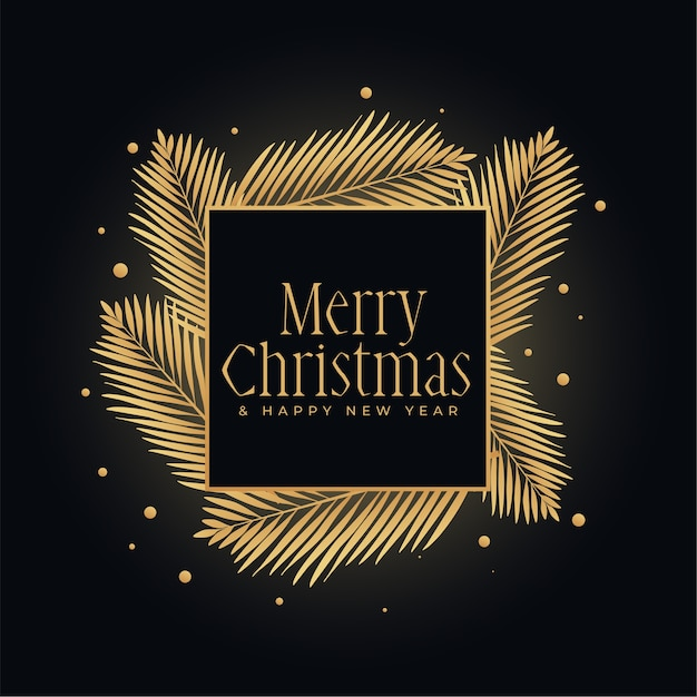 Merry christmas gold and black festival background Free Vector