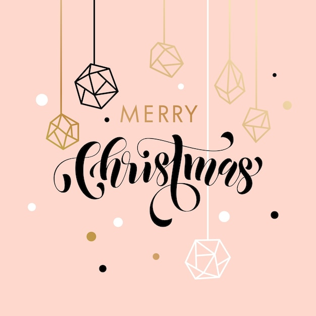 Merry christmas gold glitter gilding geometric gem crystal ornaments decoration Premium Vector