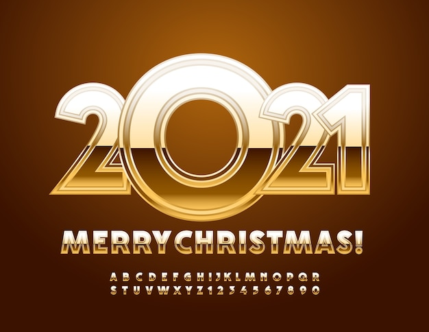 메리 크리스마스 골드 반짝 알파벳 문자와 숫자 설정 프리미엄 벡터
