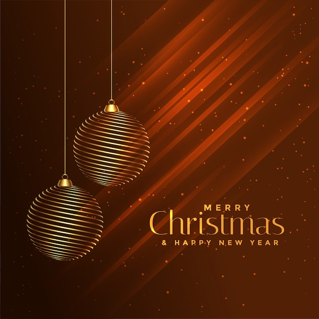 Merry christmas golden balls on shiny brown background Free Vector