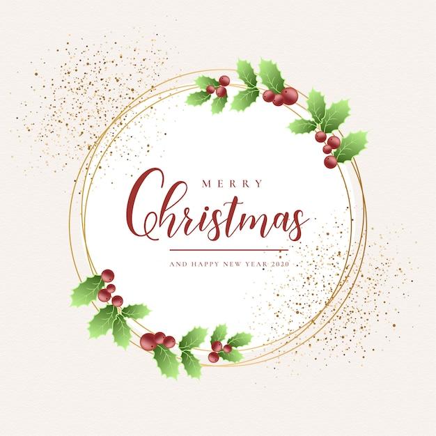Merry christmas golden frame card Free Vector