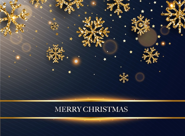 Merry christmas. golden glitter snowflakes on dark background. Premium Vector