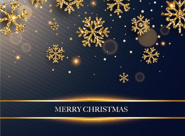メリークリスマス。暗い背景に金色のキラキラ雪片。 Premiumベクター
