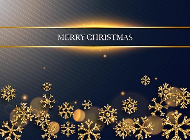 메리 크리스마스. 어두운 배경에 황금 반짝이 눈송이. 프리미엄 벡터