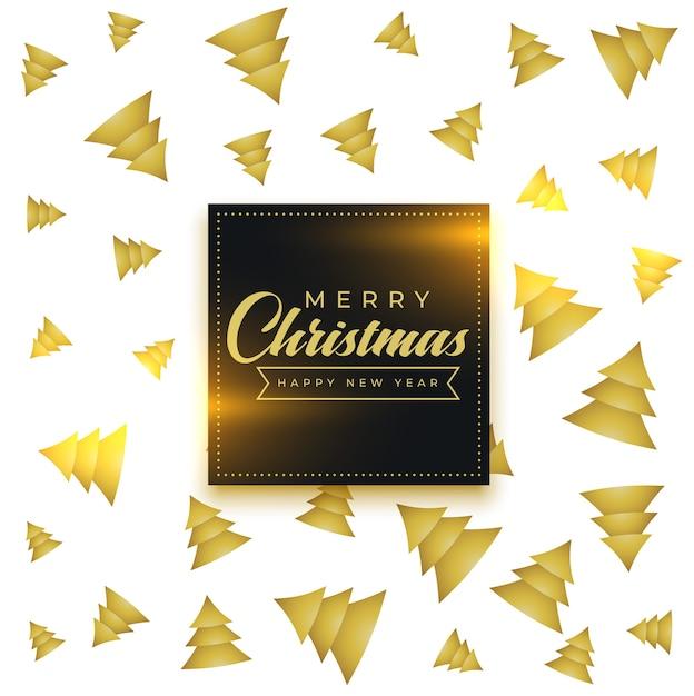 メリークリスマス黄金の木のパターンの背景 無料ベクター