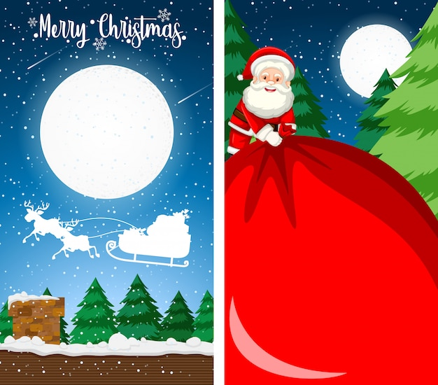 Merry christmas greeting card background vertical Free Vector