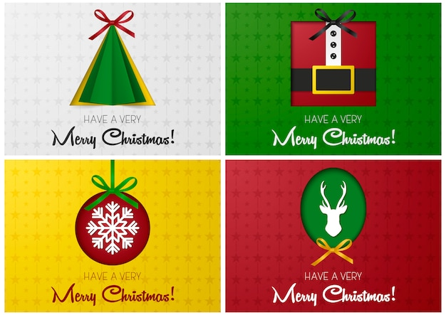 Premium Vector Merry Christmas Greeting Card Or Banner Set With Tree Santa Deer And Christmas Ball Cutted From Paper Design Template For Websites Magazines Infographics Advertising Etc Illustration