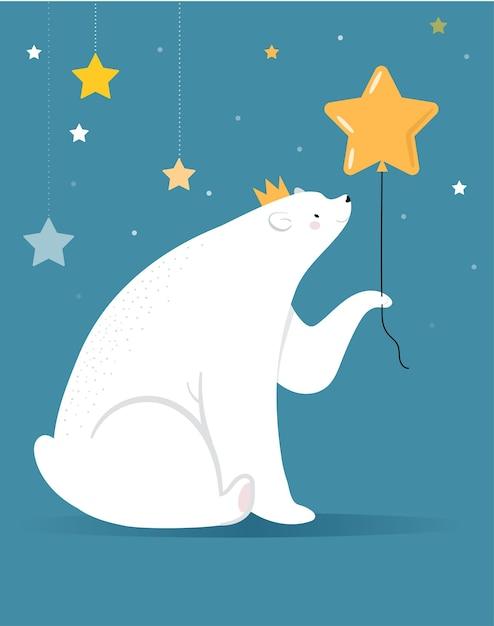 メリークリスマスのグリーティングカード、バナー。白いホッキョクグマは、金の星の風船、ベクトル漫画イラストを保持しています Premiumベクター
