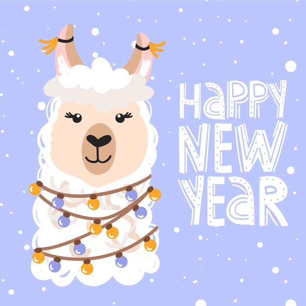С рождеством христовым поздравительная открытка. милый мультяшный альпака. Premium векторы