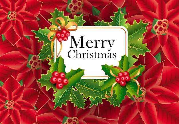 Merry christmas greeting card design. xmas berries Free Vector