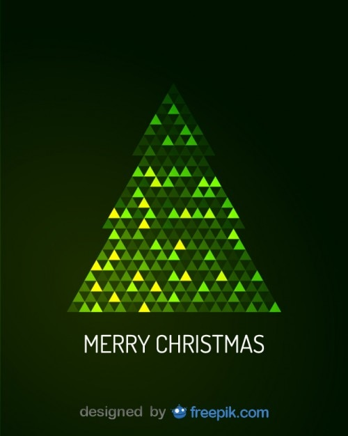 Digital Christmas Cards.Merry Christmas Greeting Card Of Digital Christmas Tree