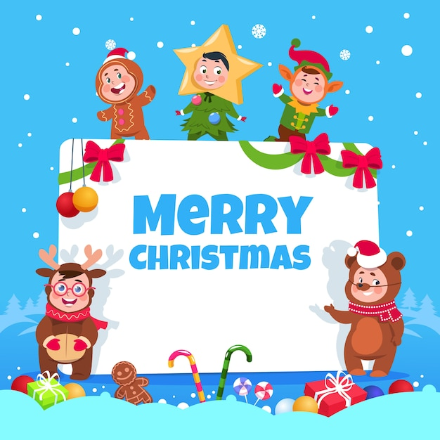 Merry christmas greeting card. kids in christmas costumes dancing at childrens winter holiday party. poster Premium Vector