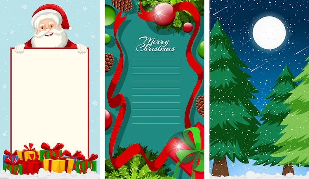 Merry christmas greeting card or letter to santa with text template Free Vector