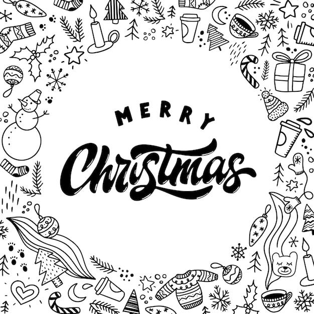 Merry christmas greeting card, poster, print Premium Vector