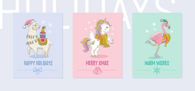 メリークリスマスグリーティングカードセット。ラマ、ユニコーンポニー、フラミンゴとかわいい熱帯動物のポスター Premiumベクター