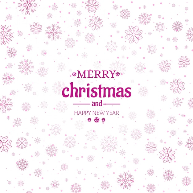 Merry christmas greeting card snowflakes background Free Vector