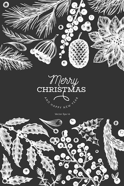 Merry christmas greeting card template. vector hand drawn illustrations on chalk board. greeting card design in retro style. Premium Vector