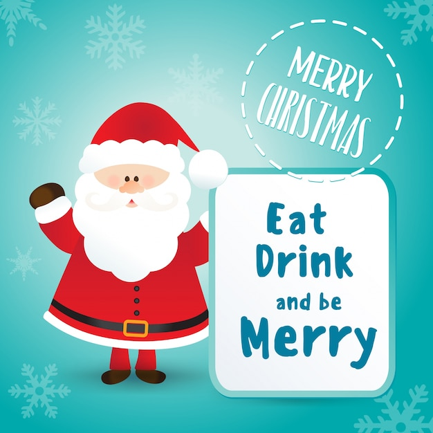 merry christmas greeting card template with santa claus character premium vector