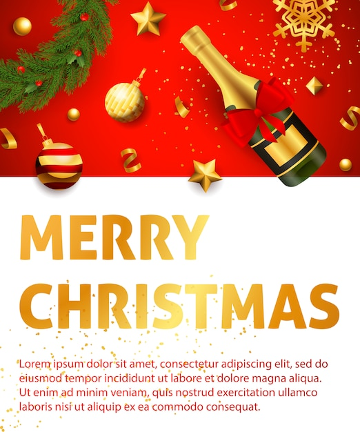 Merry christmas greeting card template Free Vector