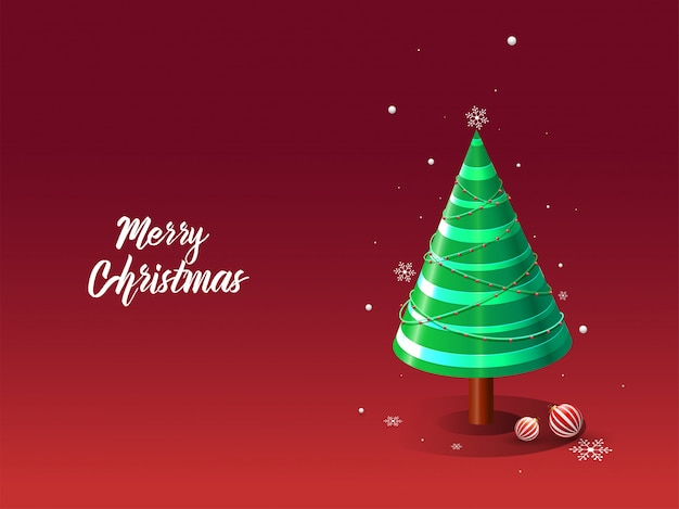 Merry christmas greeting card  with 3d decorative xmas tree, baubles and snowflakes on red . Premium Vector