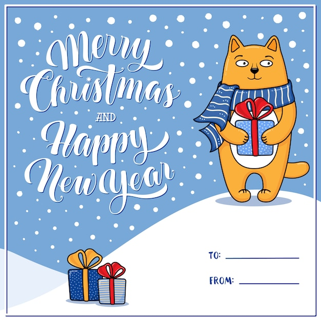 Merry christmas greeting card with cat holding xmas present, gift box Premium Vector
