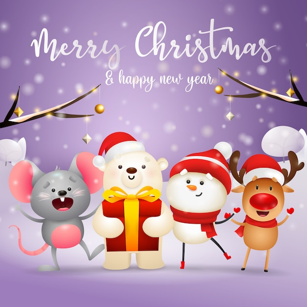 Merry christmas greeting card with christmas characters Free Vector