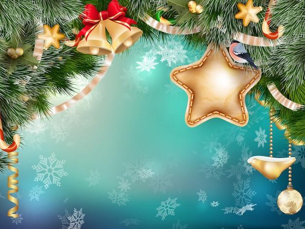 Copyspaceと装飾のメリークリスマスのグリーティングカード。 Premiumベクター