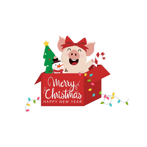 Merry christmas greeting card with cute happy  pig. Premium Vector